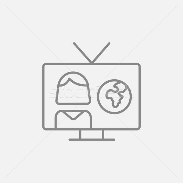 Tv verslag lijn icon web mobiele Stockfoto © RAStudio