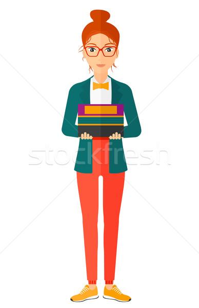 Nő tart köteg könyvek vektor terv Stock fotó © RAStudio