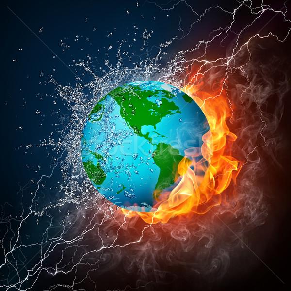 世界中 難 水 火災 孤立した 黒 ストックフォト © RAStudio