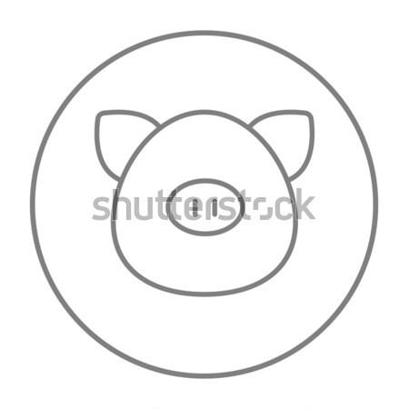 Сток-фото: свинья · голову · линия · икона · веб · мобильных