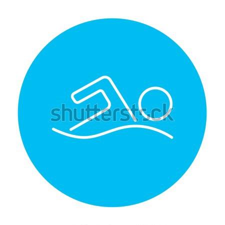 пловец линия икона веб мобильных Инфографика Сток-фото © RAStudio