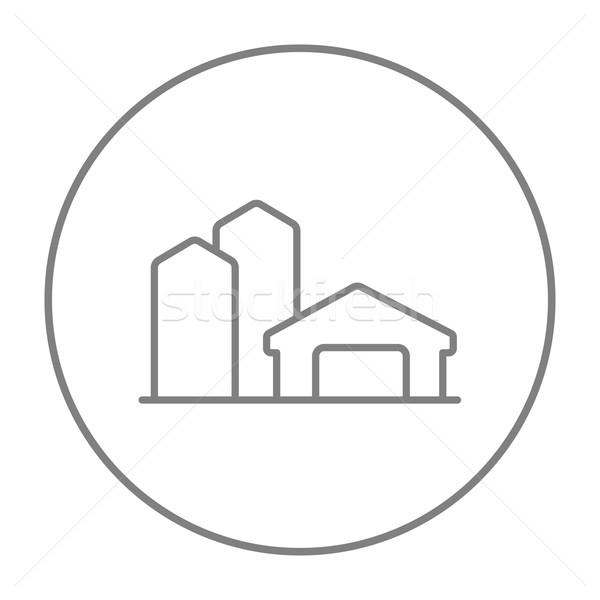 Stock fotó: Farm · épületek · vonal · ikon · háló · mobil