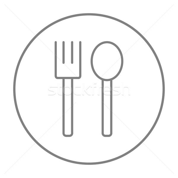 Spoon and fork line icon. Stock photo © RAStudio
