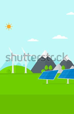 Background of mountains with wind turbine. Stock photo © RAStudio