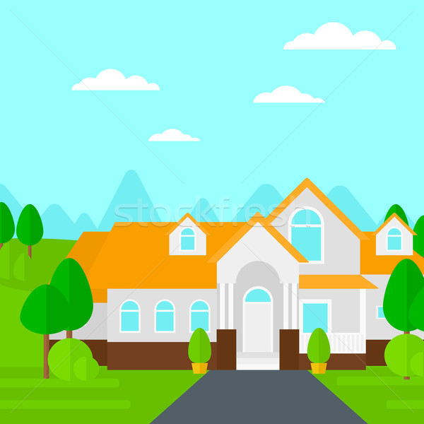 Background of house with beautiful landscape and driveway. Stock photo © RAStudio
