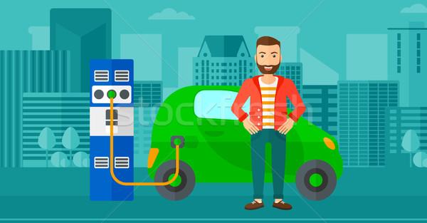 Coche eléctrico hombre barba ciudad vector Foto stock © RAStudio