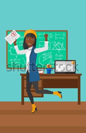 Legjobb osztályzat boldog tart lap osztályterem Stock fotó © RAStudio