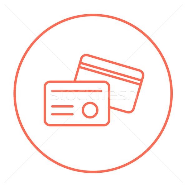 Identificação cartão linha ícone teia móvel Foto stock © RAStudio