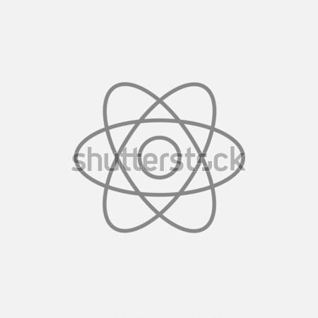 átomo línea icono web móviles infografía Foto stock © RAStudio