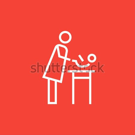 Mother taking care of baby line icon. Stock photo © RAStudio