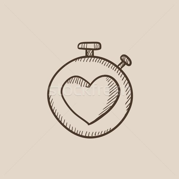 Stopwatch with heart sign sketch icon. Stock photo © RAStudio
