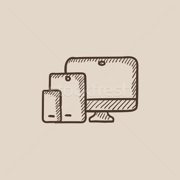 Czuły web design szkic ikona internetowych komórkowych Zdjęcia stock © RAStudio
