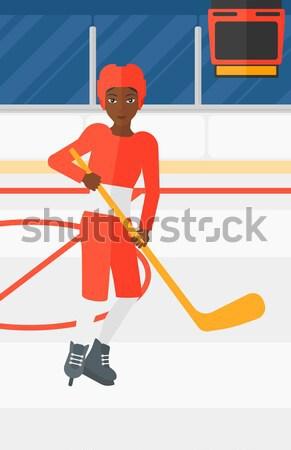 Jugador palo Asia mujer patinaje hielo Foto stock © RAStudio