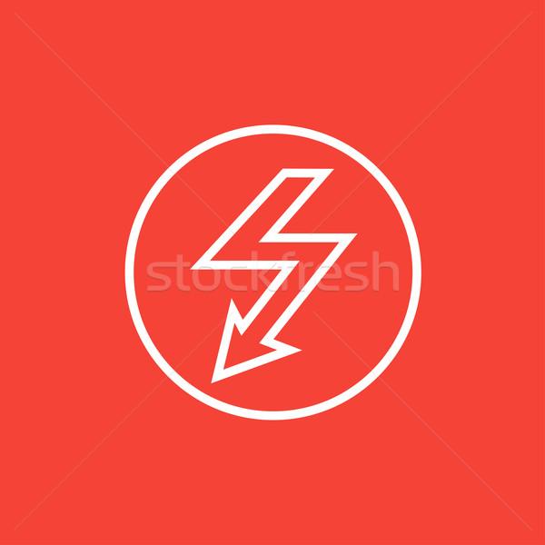 Pioruna arrow line ikona w dół wewnątrz Zdjęcia stock © RAStudio