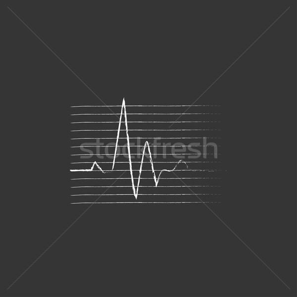 Stockfoto: Slaan · kardiogram · krijt · icon