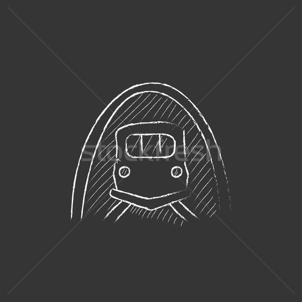 Spoorweg tunnel krijt icon Stockfoto © RAStudio