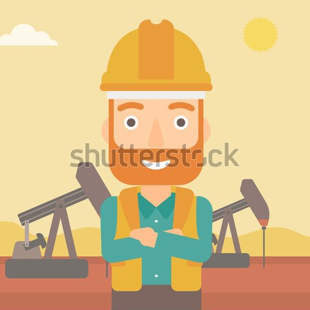 Oliearbeider man helm permanente armen Stockfoto © RAStudio