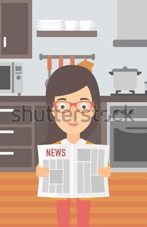 Mujer lectura periódico cocina vector diseno Foto stock © RAStudio