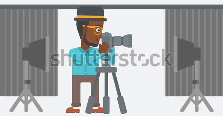 Fotograaf werken camera baard Stockfoto © RAStudio