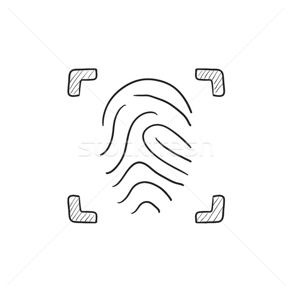 Fingerprint scanning sketch icon. Stock photo © RAStudio