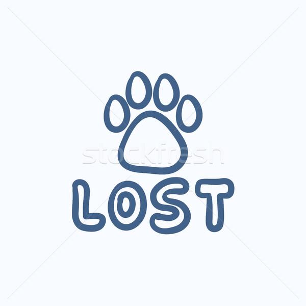 Elveszett kutya felirat rajz ikon vektor Stock fotó © RAStudio