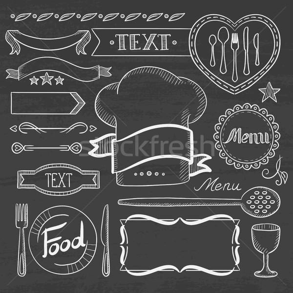 Set of ribbons, frames for restaurant menu. Stock photo © RAStudio