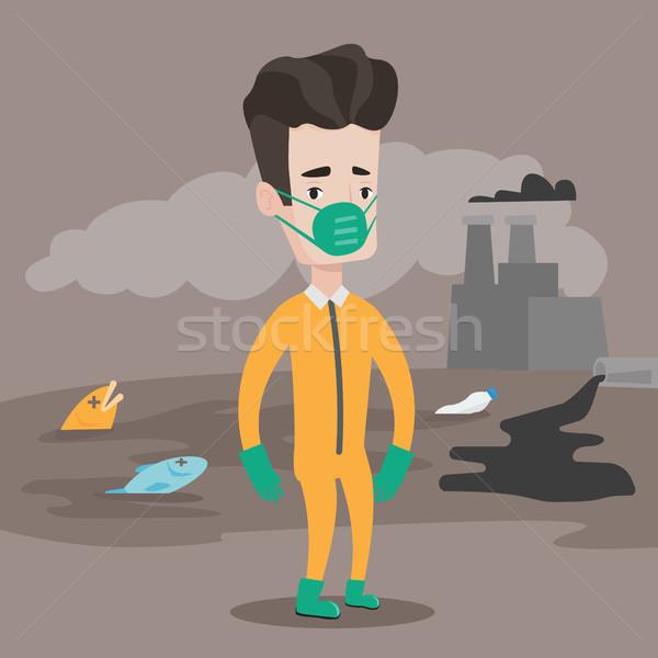 человека излучение костюм кавказский противогаз Постоянный Сток-фото © RAStudio