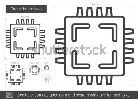 Circuit board lijn icon vector geïsoleerd witte Stockfoto © RAStudio