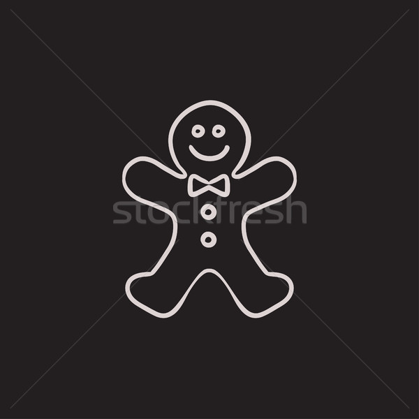 Gingerbread man sketch icon. Stock photo © RAStudio