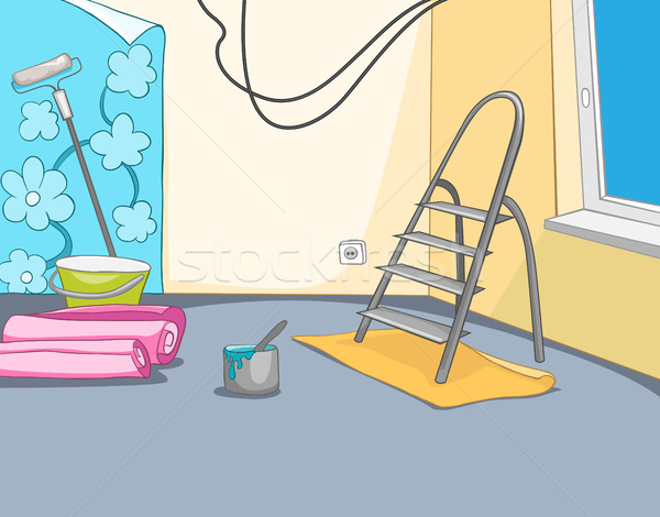 Cartoon background of apartment renovation. Stock photo © RAStudio