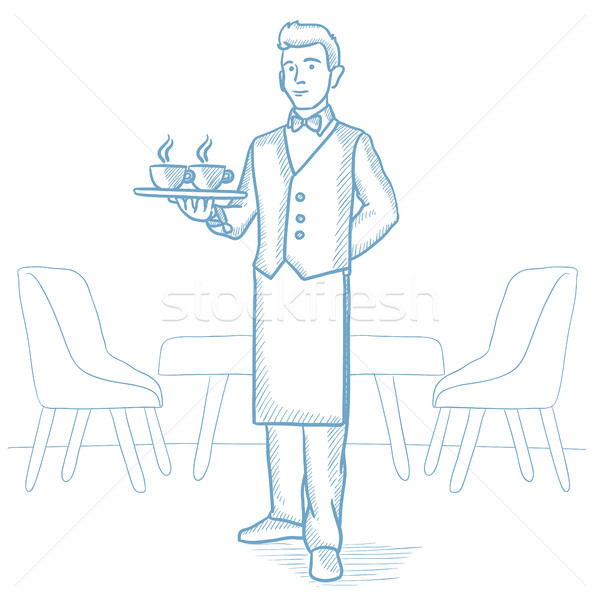 Waiter holding tray with cups of coffeee or tea. Stock photo © RAStudio