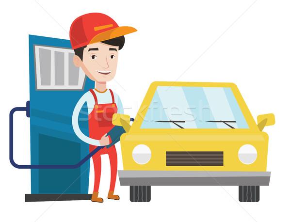 Photo stock: Travailleur · remplissage · up · carburant · voiture · station · d'essence