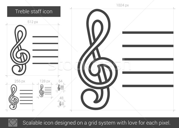 Treble staff line icon. Stock photo © RAStudio