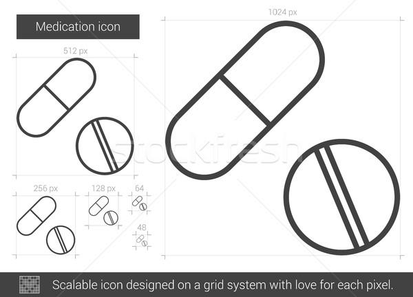 Médication ligne icône vecteur isolé blanche Photo stock © RAStudio