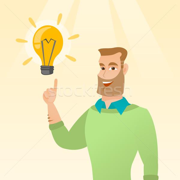 Сток-фото: бизнесмен · бизнеса · Идея · возбужденный · кавказский · указывая