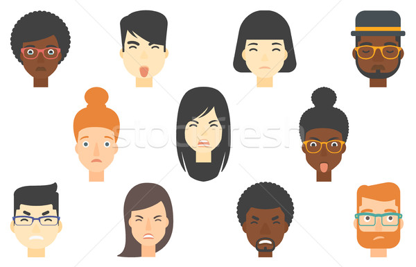 Set of human faces expressing different emotions. Stock photo © RAStudio