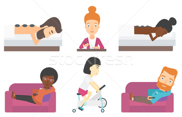 Set of relaxing people and business characters. Stock photo © RAStudio
