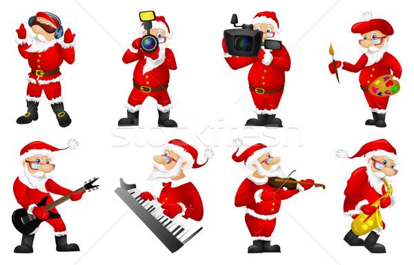 ストックフォト: ベクトル · セット · クリスマス · サンタクロース