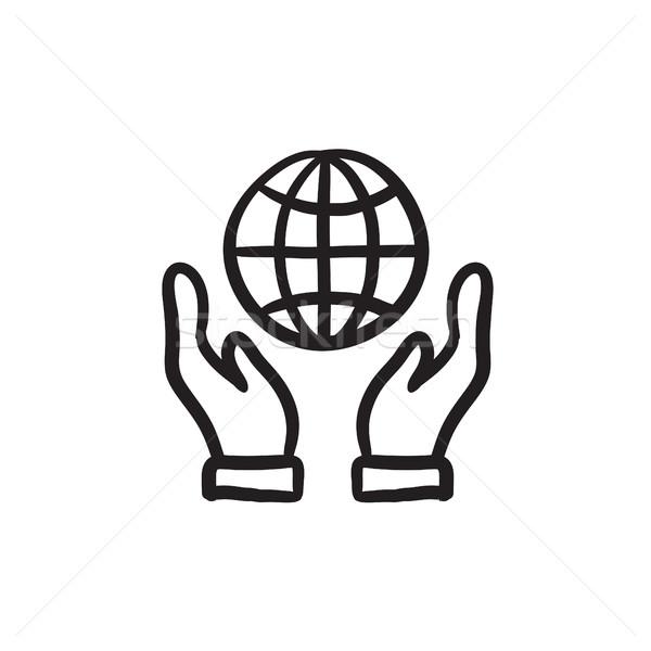 Stok fotoğraf: Iki · eller · dünya · kroki · ikon