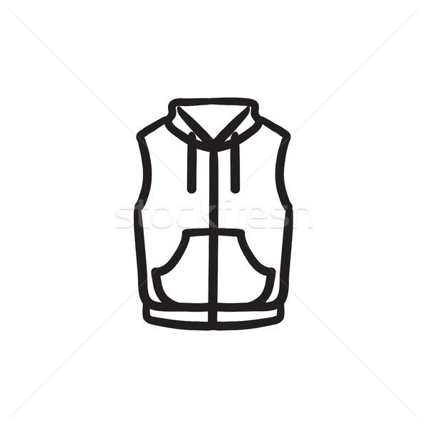 Gilet giù giacca sketch icona vettore Foto d'archivio © RAStudio