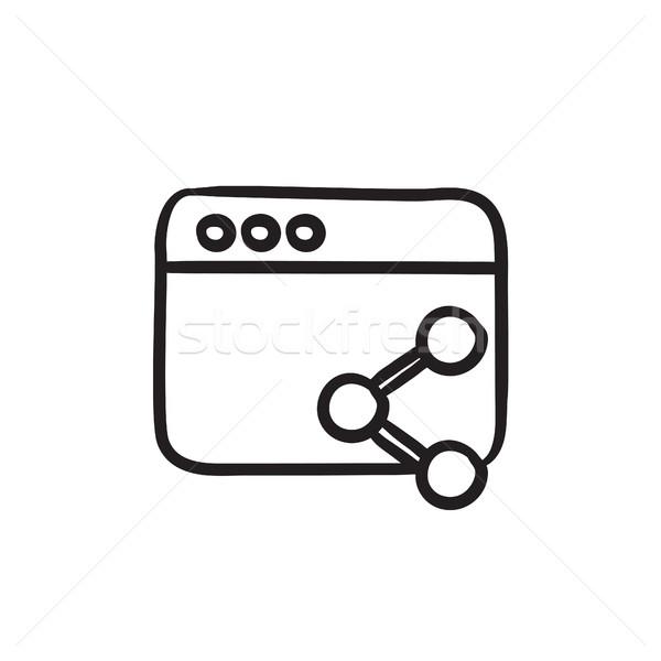 браузер окна символ эскиз икона вектора Сток-фото © RAStudio