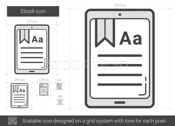 Ebook linha ícone vetor isolado branco Foto stock © RAStudio