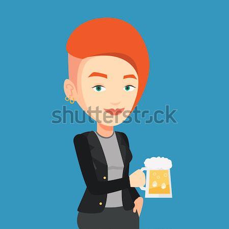 Stock photo: Woman drinking beer vector illustration.