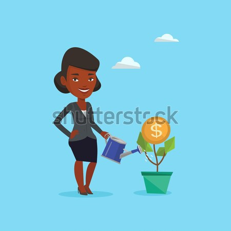 üzletasszony locsol pénz virág nő befektetés Stock fotó © RAStudio