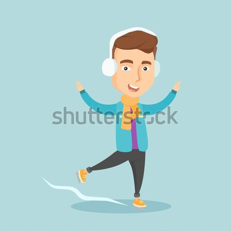 Male figure skater vector illustration. Stock photo © RAStudio