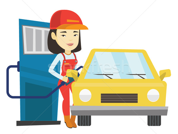 Trabalhador enchimento para cima combustível carro posto de gasolina Foto stock © RAStudio