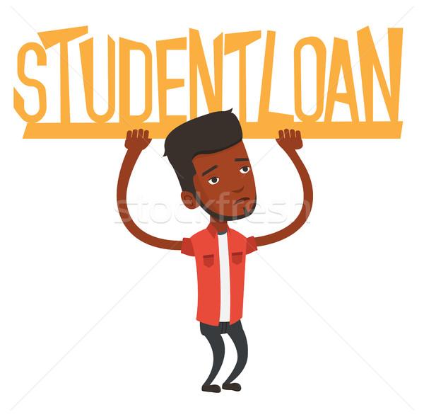 Man holding sign of student loan. Stock photo © RAStudio