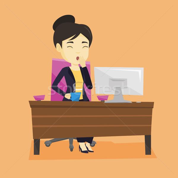 Tired employee yawning in office. Stock photo © RAStudio