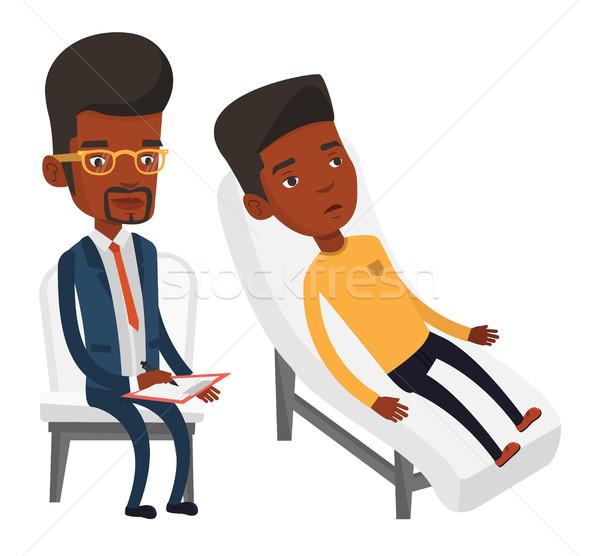 Psikolog hasta genç Afrika kanepe konuşma Stok fotoğraf © RAStudio
