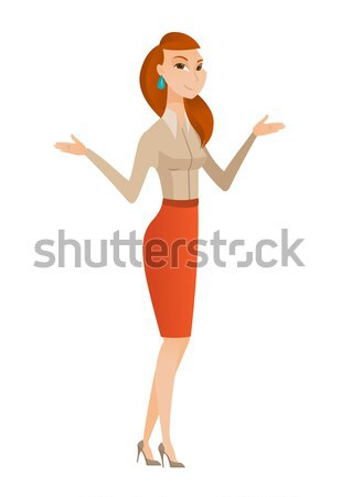 Caucasian confused business woman with spread arms Stock photo © RAStudio